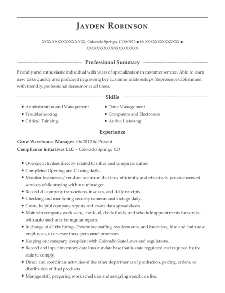 Grow Warehouse Manager resume example Colorado