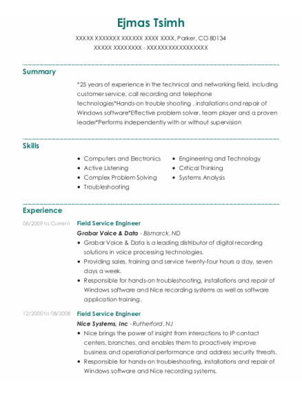 Field Service Engineer resume sample Colorado