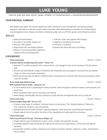 Clinical Internship resume template Colorado
