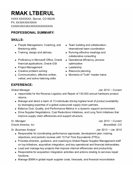 Sr Manager New Partner Development resume sample Colorado