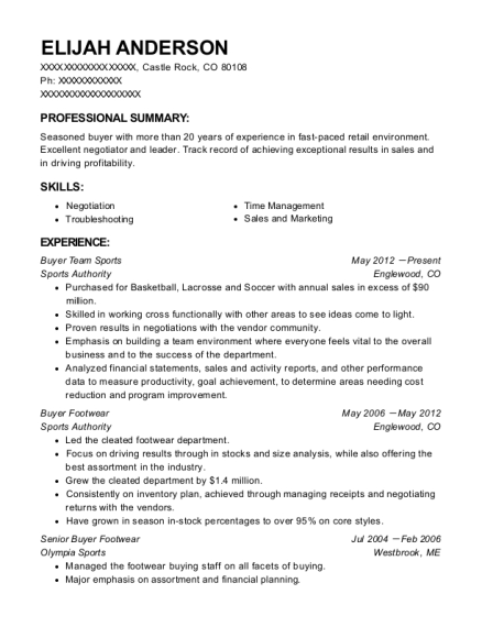 Buyer Team Sports resume template Colorado