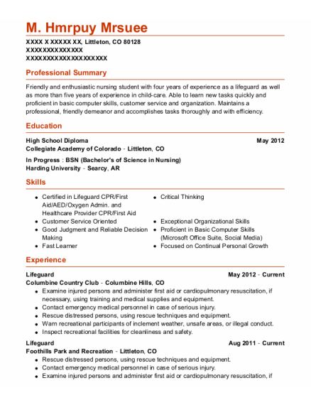Lifeguard resume format Colorado