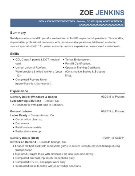 Delivery Driver resume example Colorado