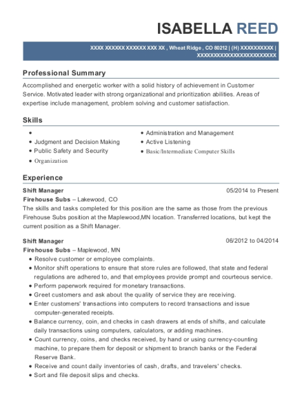 Shift Manager resume format Colorado