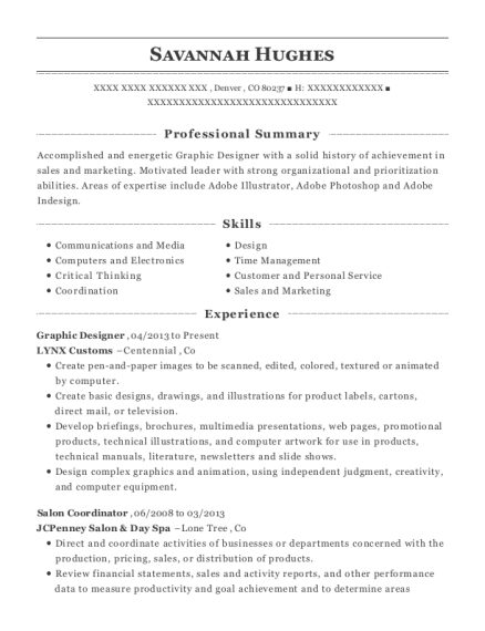 Graphic Designer resume example Colorado