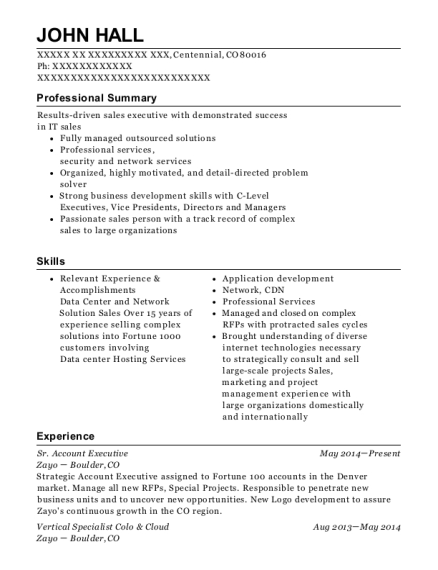 Sr Account Executive resume sample Colorado