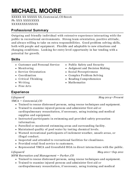 Lifeguard resume sample Colorado