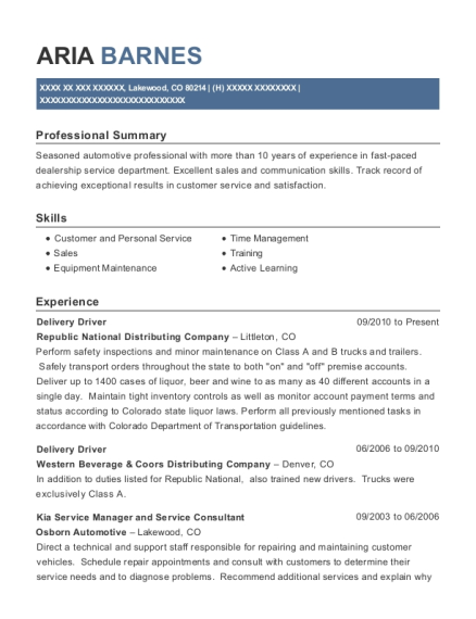 Delivery Driver resume format Colorado