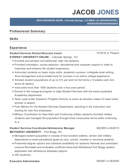 Student Services Advisor resume example Colorado