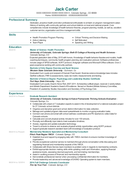 Graduate Research Assistant resume template Colorado