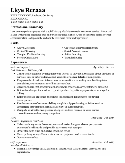 Technical Support resume template Colorado