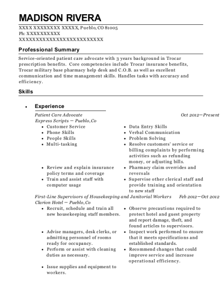 Patient Care Advocate resume example Colorado