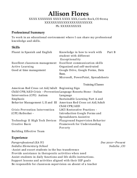 Paraprofessional resume example Colorado
