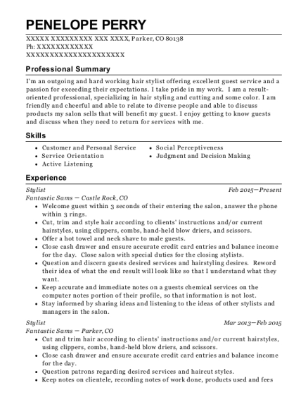 Stylist resume example Colorado