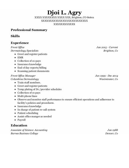 Front Office resume example Colorado