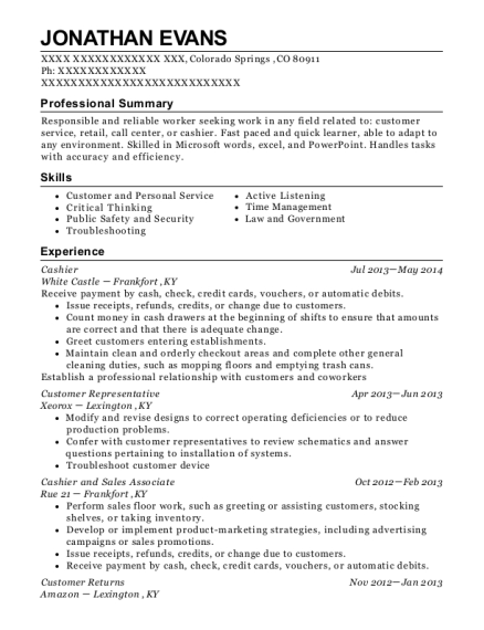 Cashier resume format Colorado