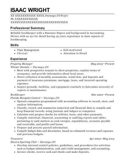 Property Manager resume example Colorado