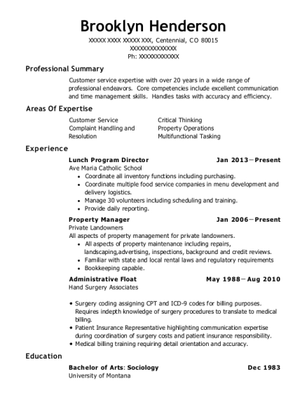 Lunch Program Director resume example Colorado