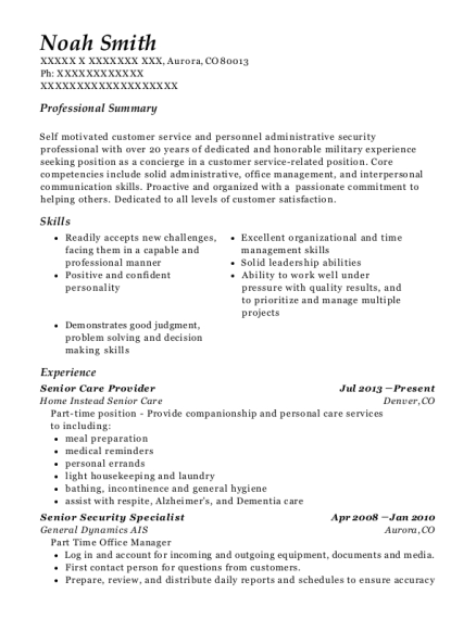 Senior Care Provider resume template Colorado