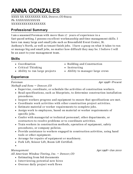 Foreman resume template Colorado