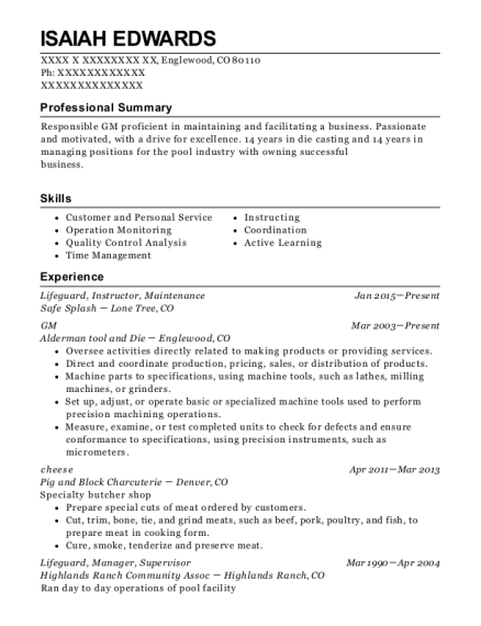 Lifeguard resume template Colorado