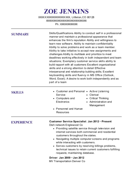 Customer Service Specialist resume sample Colorado