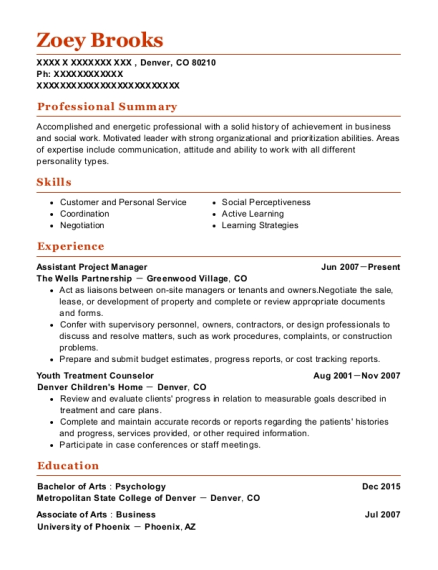 Assistant Project Manager resume example Colorado