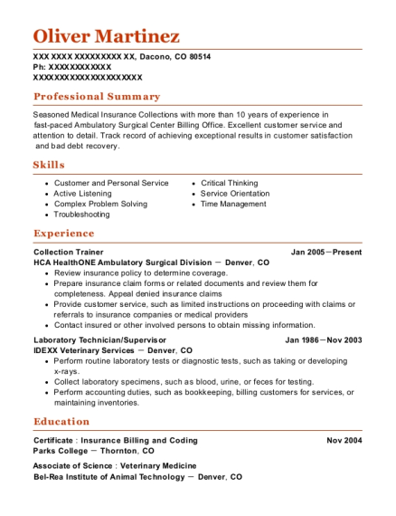 Collection Trainer resume template Colorado