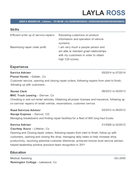 Service Advisor resume template Colorado