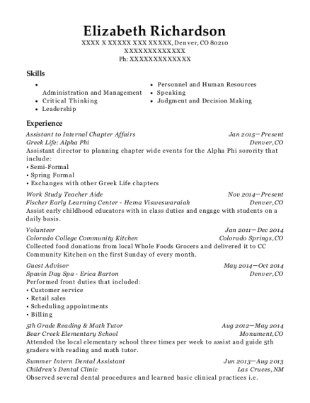 Assistant to Internal Chapter Affairs resume example Colorado
