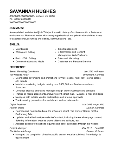 Senior Marketing Coordinator resume example Colorado