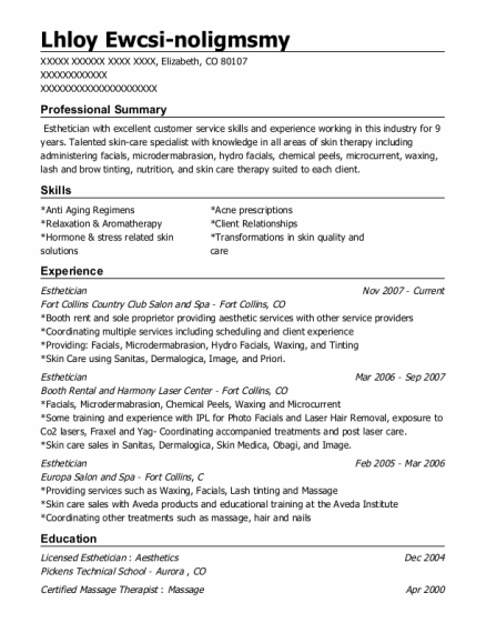 Esthetician resume template Colorado