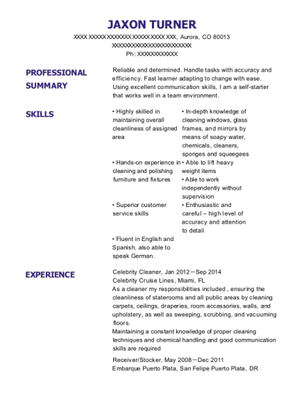Celebrity Cleaner resume template Colorado