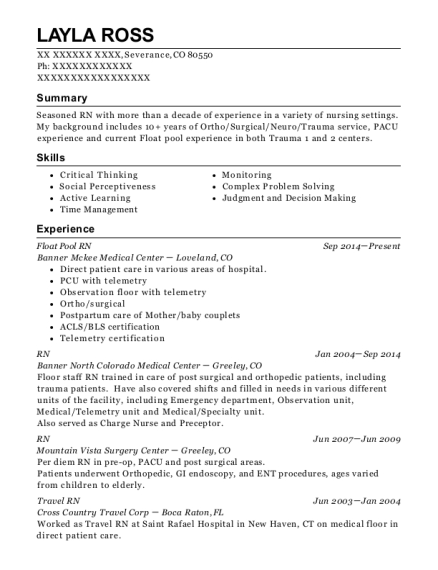 Float Pool RN resume sample Colorado