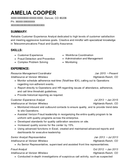 Resource Management Coordinator resume format Colorado
