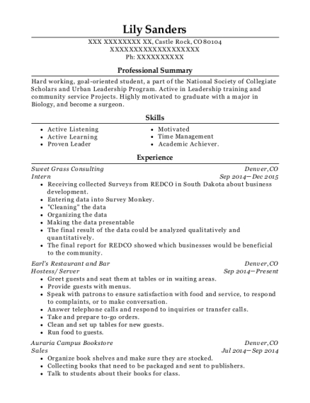Intern resume sample Colorado