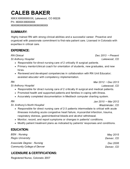 RN Clinical resume sample Colorado