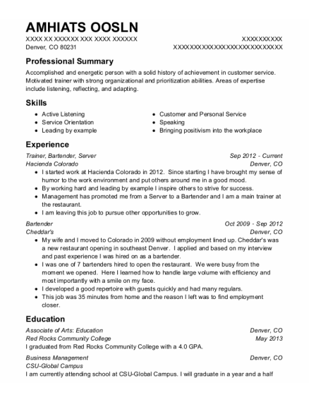 Trainer resume template Colorado