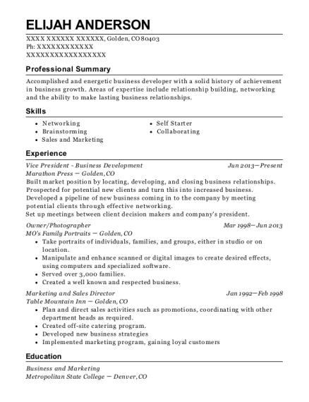 Vice President Business Development resume format Colorado
