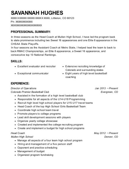 Director of Operations resume template Colorado