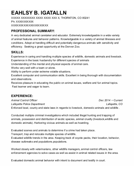 Animal Control Officer resume format Colorado