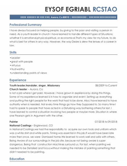 Youth Leader resume template Colorado