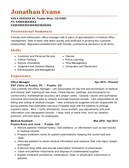 Office Manager resume template Colorado