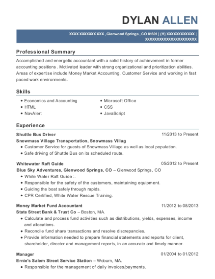 Shuttle Bus Driver resume template Colorado