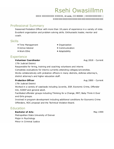 Volunteer Coordinator resume format Colorado