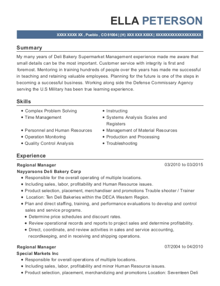 Regional Manager resume format Colorado