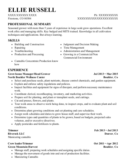 Grow house Manager resume example Colorado