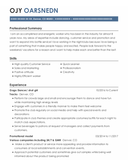 Promotional Model resume example Colorado