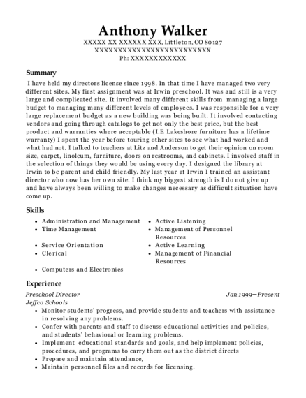 Preschool Director resume format Colorado