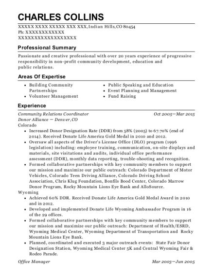 Community Relations Coordinator resume format Colorado